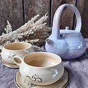 Посуда handmade. Livemaster - original item Teapot and 2 cups. Handmade.
