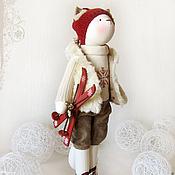 """Куклы и игрушки ручной работы. Ярмарка Мастеров - ручная работа Кошка """"Мне вчера купили лыжи"""". Handmade."""