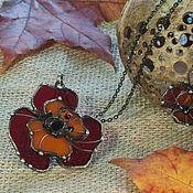 Украшения handmade. Livemaster - original item Set Floral. Earrings and Pendant with red poppy. Handmade.