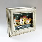 Картины и панно handmade. Livemaster - original item Painting/panel with houses by the river. Handmade.