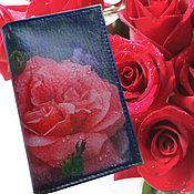 Канцелярские товары ручной работы. Ярмарка Мастеров - ручная работа Обложка на паспорт Роза коралловая цветок. Handmade.