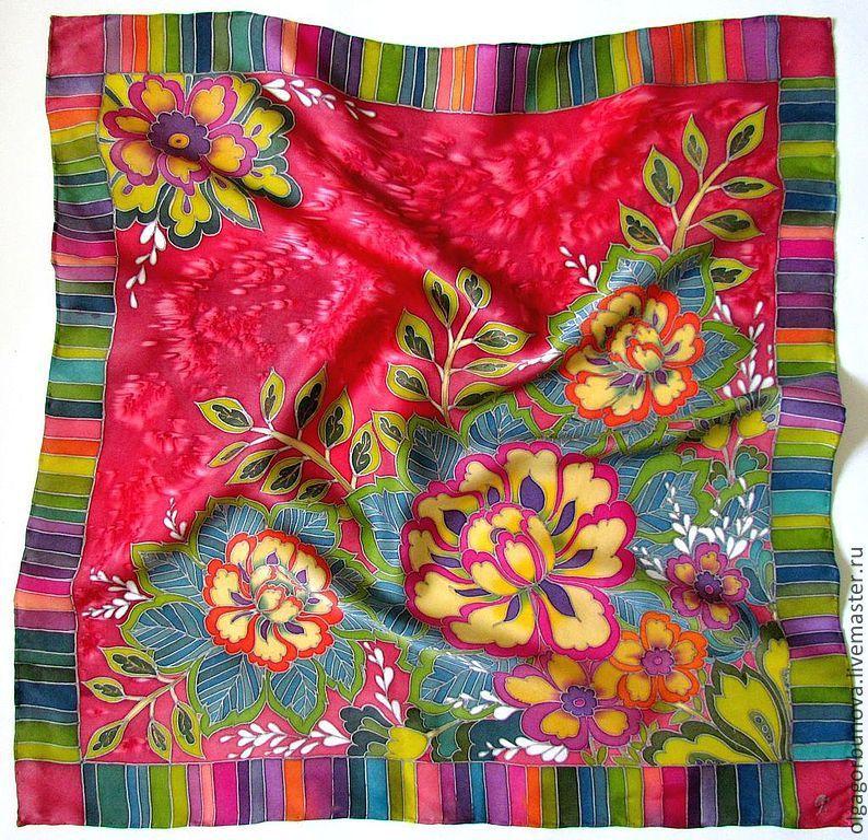 Batik scarf 'Peony mood', Shawls1, Yaroslavl,  Фото №1