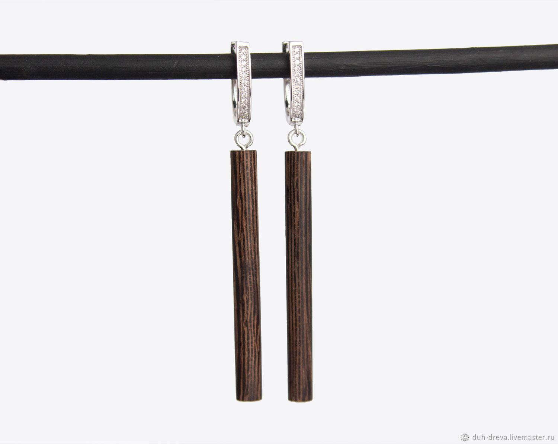 Серьги ручной работы. Ярмарка Мастеров - ручная работа. Купить Длинные серьги из дерева венге. Handmade. Коричневый, украшения из дерева