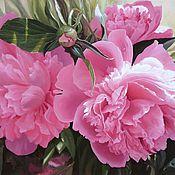 """Картины и панно ручной работы. Ярмарка Мастеров - ручная работа Авторская картина маслом большого размера """"Пионы розовые. Handmade."""