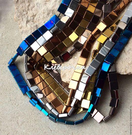 Для украшений ручной работы. Ярмарка Мастеров - ручная работа. Купить Гематит 8 мм 5 цветов квадрат гладкий бусины камень. Handmade.