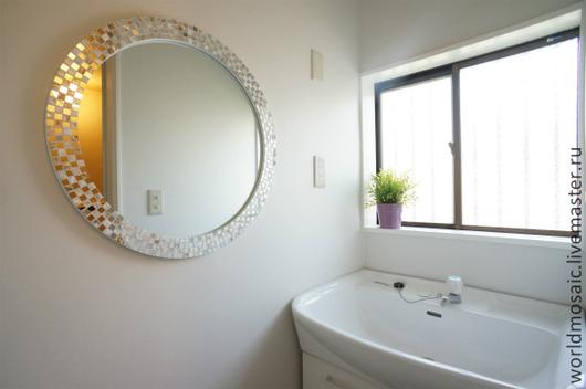 Зеркала ручной работы. Ярмарка Мастеров - ручная работа. Купить зеркало в мозаичной раме, комбинированное. Handmade. Серебряный, овал, серебро