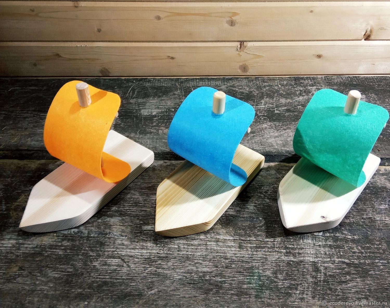 Набор из 3 деревянных кораблей с парусом, Техника роботы транспорт, Пено,  Фото №1