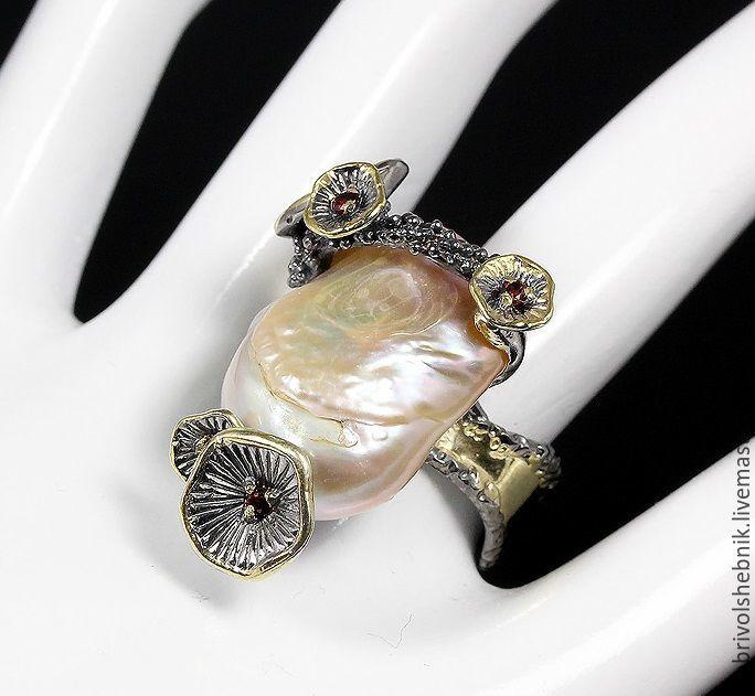 Ring Minerva with large Baroque pearl, Rings, Novaya Usman,  Фото №1