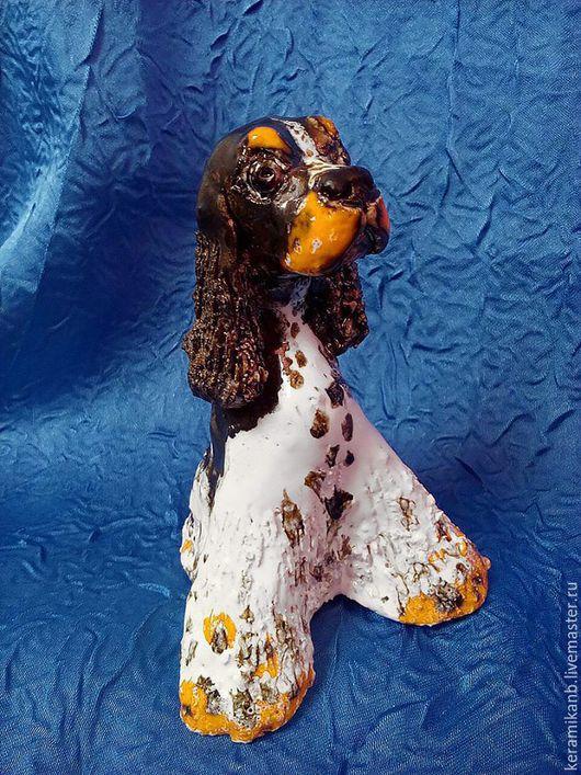 Статуэтки ручной работы. Ярмарка Мастеров - ручная работа. Купить Статуэтка собаки породы Спаниель. Handmade. Чёрно-белый, спаниель