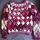 Кофты и свитера ручной работы. Ярмарка Мастеров - ручная работа. Купить Пуловер (свитер) бесшовный в технике энтерлак 50%мерин.шерсть50%дралон. Handmade.