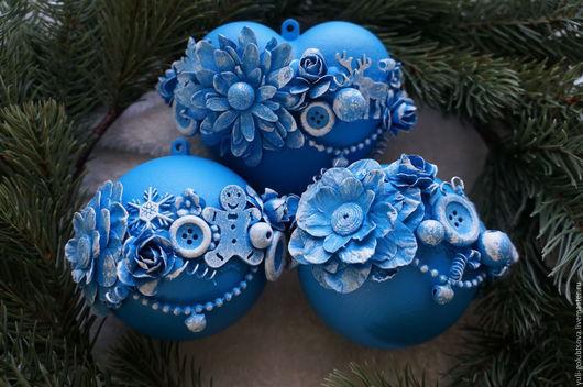 """Новый год 2017 ручной работы. Ярмарка Мастеров - ручная работа. Купить Набор новогодних шаров """"Цветы под снегом"""". Handmade."""