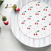 Посуда handmade. Livemaster - original item Cherry dessert... Saucer handmade ceramics. Handmade.