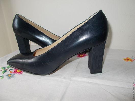 Винтажная обувь. Ярмарка Мастеров - ручная работа. Купить Сейчас 20 евро.Туфли черные кожаные винтаж Италия. Handmade.