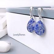 Украшения handmade. Livemaster - original item Earrings teardrop light blue sodalite on silver sanochkah. Handmade.