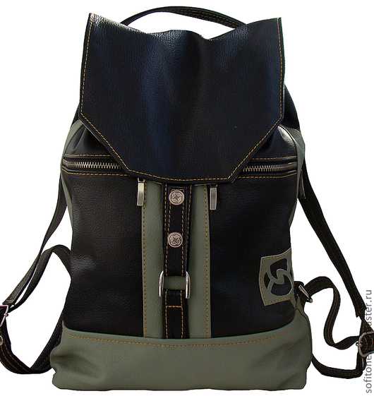 Рюкзаки ручной работы. Ярмарка Мастеров - ручная работа. Купить Кожаный рюкзак черный с оливковым. Handmade. Кожаный рюкзак