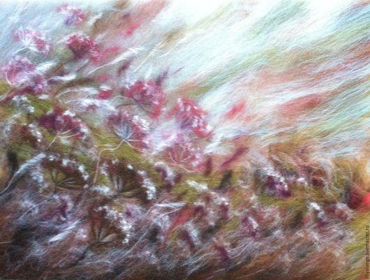 """Картины цветов ручной работы. Ярмарка Мастеров - ручная работа. Купить картина из шерсти """"Осень"""". Handmade. Разноцветный, осень"""