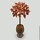 Дерево из янтаря в вазочке из оникса `Солнце вашему дому`