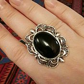 Серебряное кольцо 925 пробы с чёрным агатом..филигрань