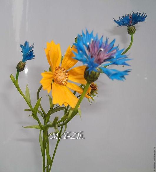 Васильки,реалистичные цветы,керамическая флористика,ручная работа,интерьерная композиция