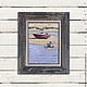 Пейзаж ручной работы. Лодка №5. Анастасия Таюрская Душевные картины. Интернет-магазин Ярмарка Мастеров. Море, красный, зеленый