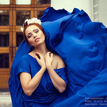 Одежда ручной работы. Ярмарка Мастеров - ручная работа Платье свободного кроя синий электрик. Handmade.