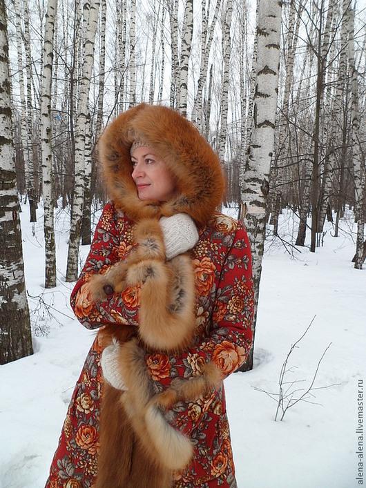 """Верхняя одежда ручной работы. Ярмарка Мастеров - ручная работа. Купить Зимнее пальто """" Ярославна """".. Handmade. Цветочный"""