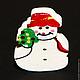 """Куклы и игрушки ручной работы. Ярмарка Мастеров - ручная работа. Купить Пуговица """"Снеговик"""". Handmade. Белый, новогоднее украшение, дерево"""