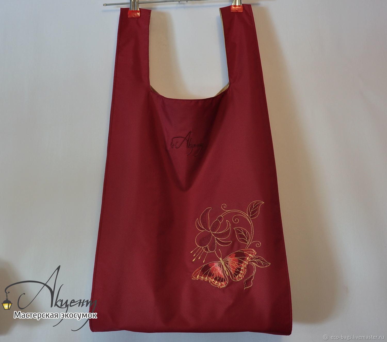 Двойная сумка для покупок Фантазия бордовая, Сумка-шоппер, Гай,  Фото №1