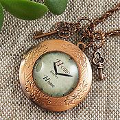 Подвеска ручной работы. Ярмарка Мастеров - ручная работа Медальон Часы Home Sweet Home с Ключиками круглый медь. Handmade.