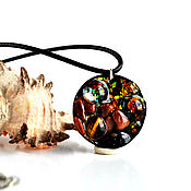 Украшения handmade. Livemaster - original item Pendant with aventurine ,tiger`s eye and space beads. Handmade.