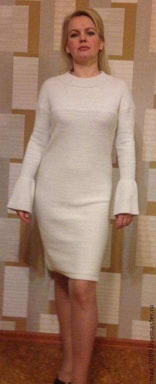 Платья ручной работы. Ярмарка Мастеров - ручная работа. Купить Платье вязаное НЕЖНОСТЬ. Handmade. Белый, теплая одежда