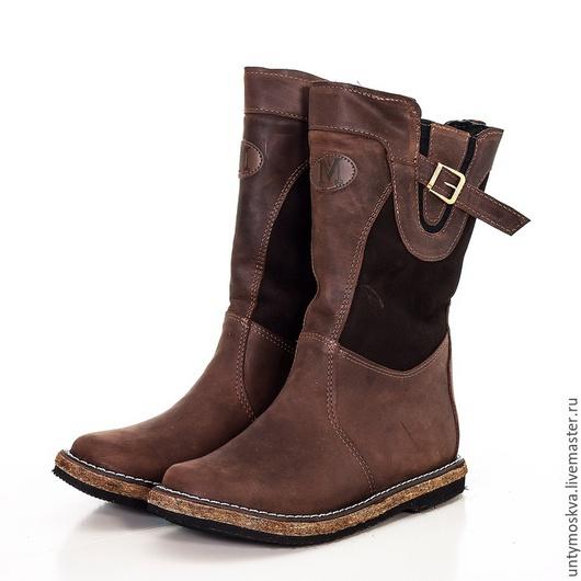 Обувь ручной работы. Ярмарка Мастеров - ручная работа. Купить Монголки женские подошва войлок.. Handmade. Коричневый, зимняя обувь