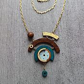 Украшения handmade. Livemaster - original item Asymmetric necklace made of wood with gilding. Handmade.