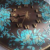 Для дома и интерьера ручной работы. Ярмарка Мастеров - ручная работа Часы настенные Бирюза в шоколаде. Handmade.