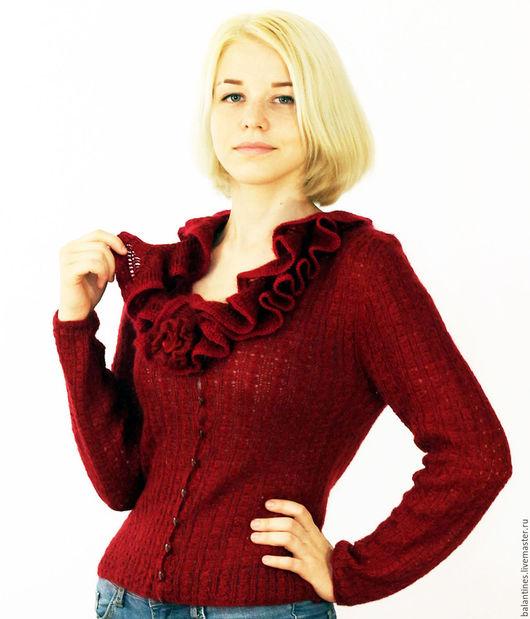 Пиджаки, жакеты ручной работы. Ярмарка Мастеров - ручная работа. Купить Жакет вязаный женский Вишня из мохера спицами. Handmade.