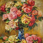Картины и панно ручной работы. Ярмарка Мастеров - ручная работа Картина Розы в синей вазе Копия  Огюст Ренуар. Handmade.