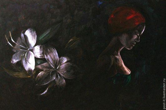 Картины цветов ручной работы. Ярмарка Мастеров - ручная работа. Купить Лилия. Handmade. Черный, цветок, красный, акриловые краски
