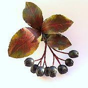 Украшения handmade. Livemaster - original item brooch leather black chokeberry. Handmade.