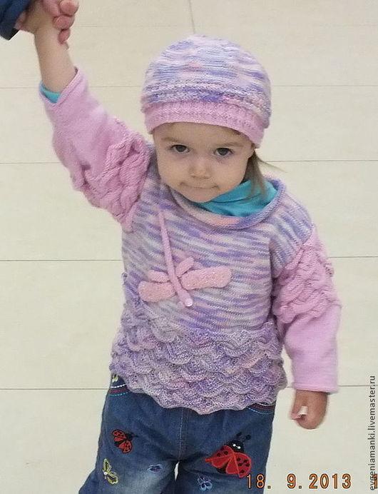 Одежда для девочек, ручной работы. Ярмарка Мастеров - ручная работа. Купить джемпер  Розовая стрекоза вязаный авторский детский для девочки. Handmade.