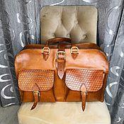 Сумки и аксессуары handmade. Livemaster - original item Travel bag made of genuine leather with embossed. Handmade.