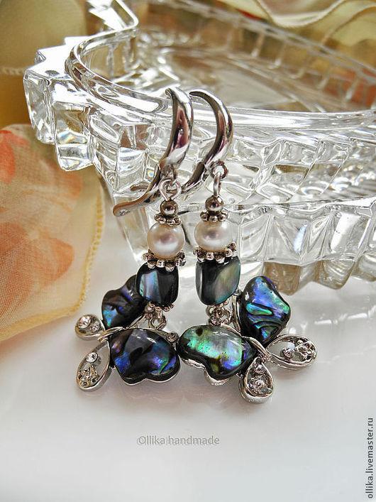 Серьги Бабочки Крылышками... серьги с бабочками, синие бабочки серьги с перламутром, оригинальный подарок, серьги с жемчугом, необычные подарки, оригинальная бижутерия, украшение в подарок, серьги ку