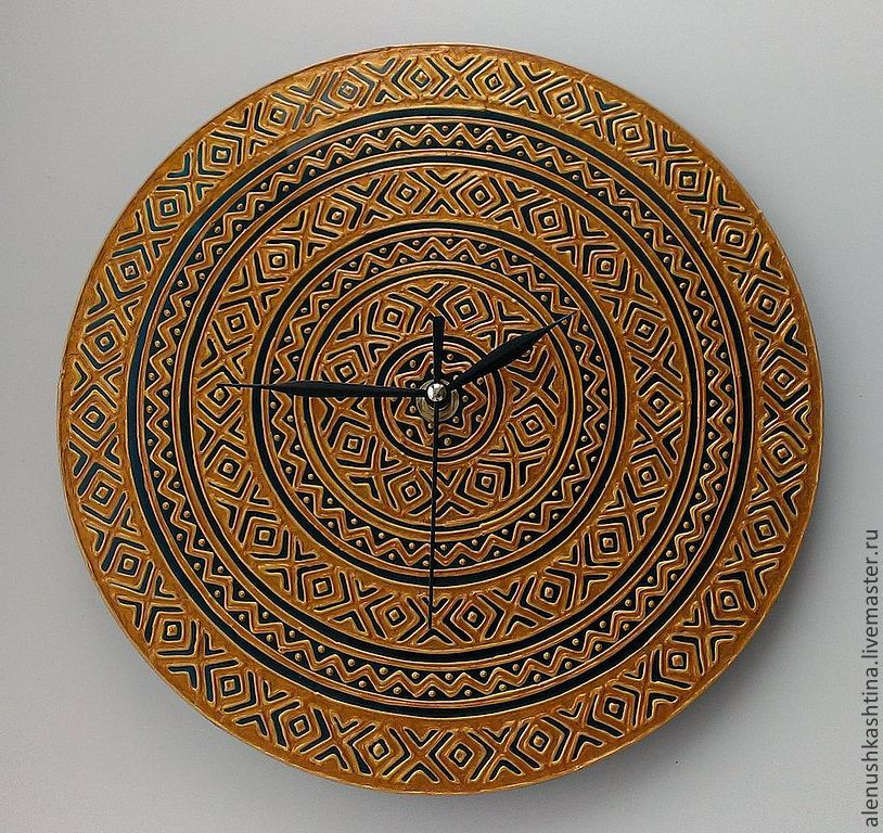 """Часы для дома ручной работы. Ярмарка Мастеров - ручная работа. Купить Часы настенные """"Золото фараонов"""". Handmade. Витраж, золотой"""