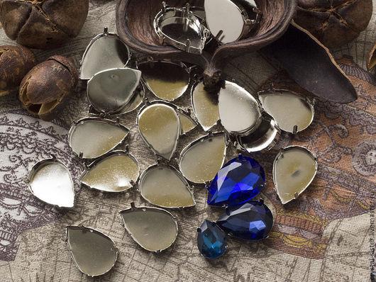 Для украшений ручной работы. Ярмарка Мастеров - ручная работа. Купить Цапы (касты, оправы) для Страз Капля 29х20мм Никель. Handmade.