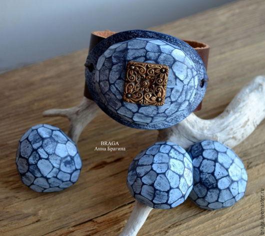 Комплекты украшений ручной работы. Ярмарка Мастеров - ручная работа. Купить Комплект Джинсовые камешки. Браслет, серьги, кольцо из полимерной глин. Handmade.