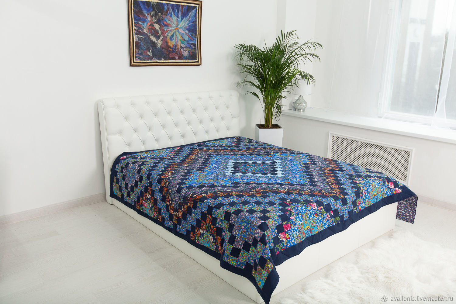 Blue patchwork double bedspread 220x225sm, Blankets, Moscow,  Фото №1