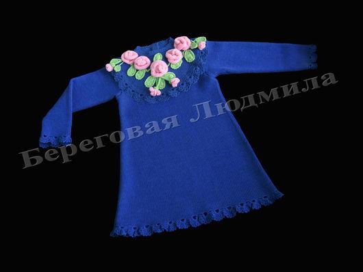 Одежда для девочек, ручной работы. Ярмарка Мастеров - ручная работа. Купить Платье для девочки вязаное. Handmade. Тёмно-синий