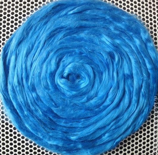 """Валяние ручной работы. Ярмарка Мастеров - ручная работа. Купить Шёлк """"Mulberry"""" (волокна). Яркий тёмно-голубой.. Handmade. Синий"""