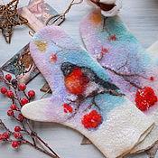 Аксессуары handmade. Livemaster - original item Mittens felt the December cold. Handmade.