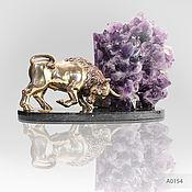 handmade. Livemaster - original item A gift to the heads of the Bronze bull Taurus with Geode agate amethyst. Handmade.