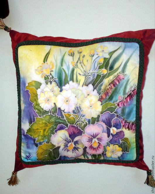 Текстиль, ковры ручной работы. Ярмарка Мастеров - ручная работа. Купить Подушка декоративная Цветы весны, батик. Handmade. Бордовый